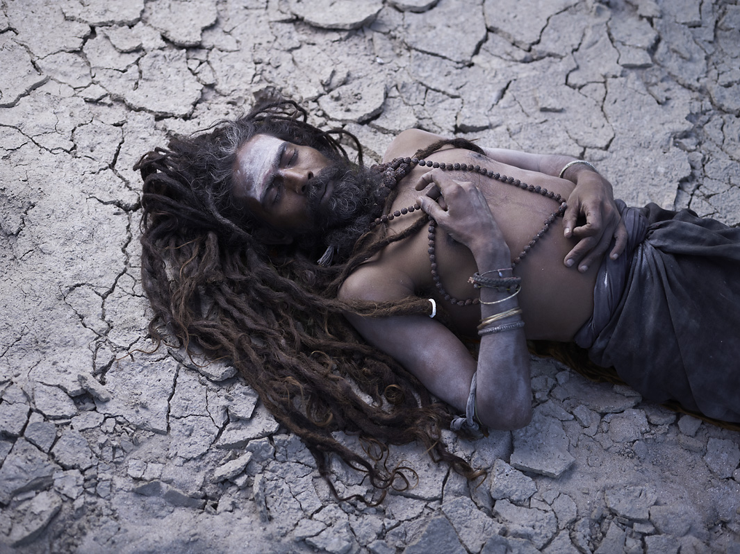 Aghori sadhus cover themselves with human ash, which is the last rite of the material body. Varanasi, India