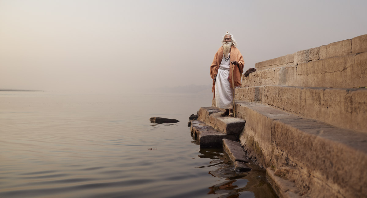 Baba Vijay Nund on the steps of Chet Singh Ghat on the banks of the Ganges River. Varanasi, India