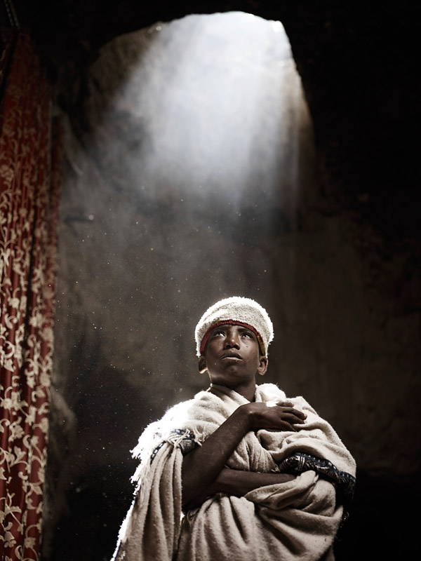 Gashaw Mesganaw is a deacon studying to become a monk at Abuna Aron, a cave monastery in Northern Ethiopia. This holy place is known for its beam of light is visable only when the sun aligns with the hole in its ceiling.