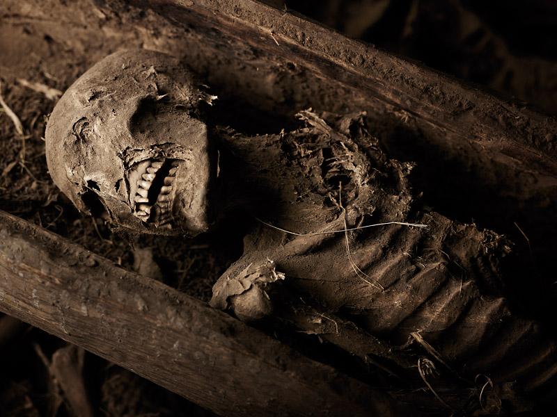 A pilgrim's corpse rests at Yemrehanna Kristos, Lalibela Ethiopia.